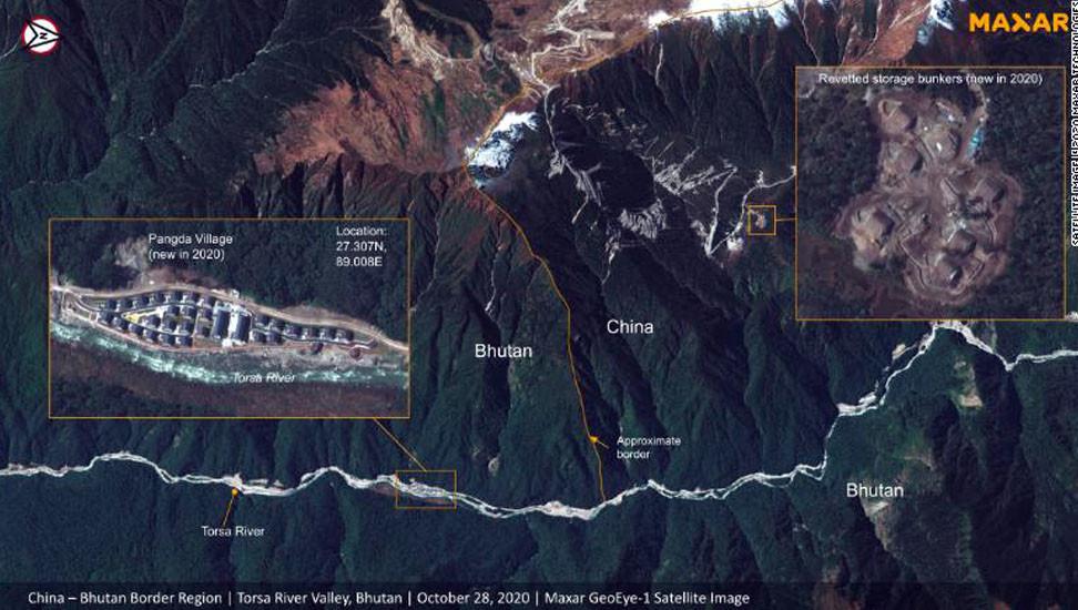 स्याटेलाइट तस्बिरबाट खुल्यो चीनको पोल, भुटानको क्षेत्रमा विवादित सीमा क्षेत्रमा संरचना बनाउँदै चीन